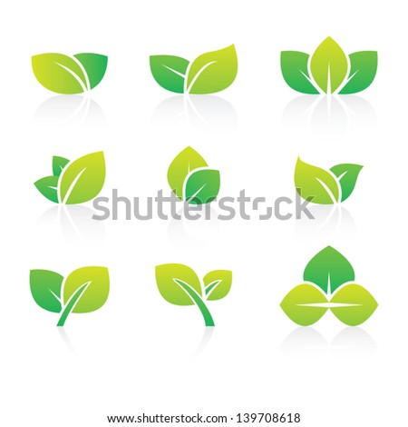 Set of Abstract Leaf Icons - stock vector
