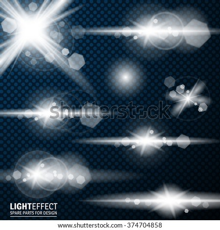 Set of Abstract Lens Flares.Design spare. Glowing stars . Lights and Sparkles on Transparent Background. Transparent Light Effects for Your Design. Vector Illustration. - stock vector