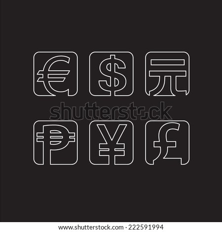 Set of abstract line currency symbols   - stock vector