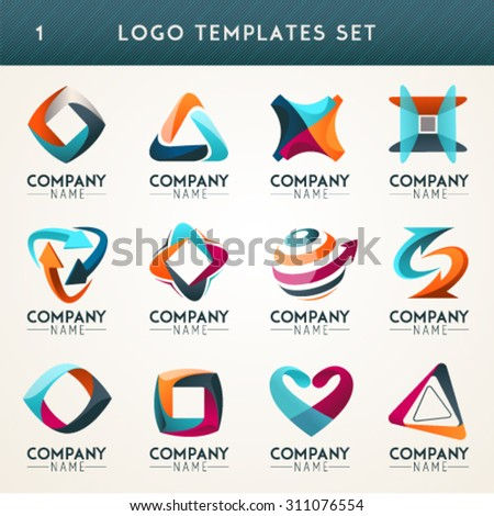 Set of abstract logo, web Icon and globe vector symbol. Unusual icon set. Graphic design of logo elements easy editable for Your design. Modern logotype icon. - stock vector