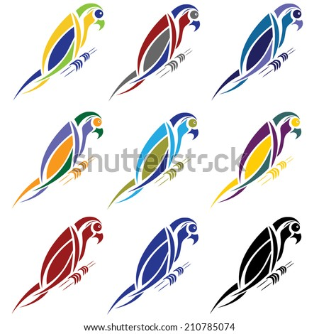 set of abstract macaw parrot - stock vector