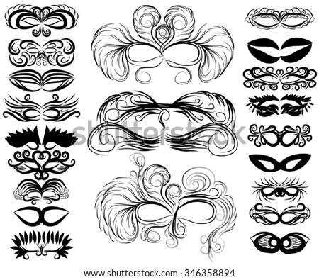 set of abstract masks - stock vector