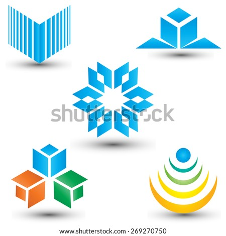 Set of abstract mixed design elements, business icons - stock vector
