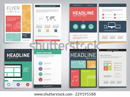 Set of abstract modern cover, report, brochure, flyer templates with flat design style, clean and elegant concept. Technology, infographics, charts, applications - stock vector