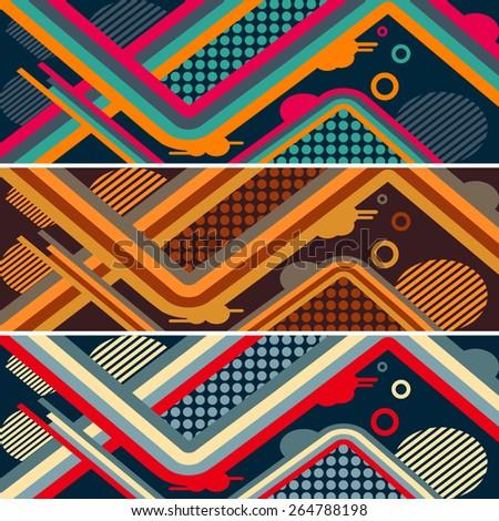 set of abstract modern pattern for skateboard. vector illustration eps10 - stock vector
