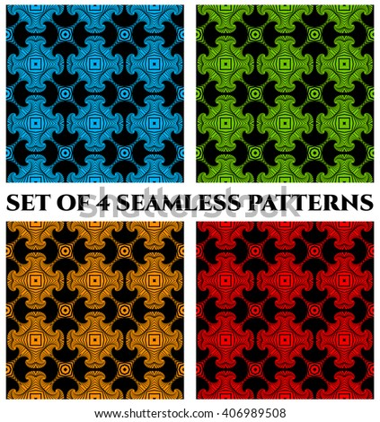 Set of 4 abstract modern seamless patterns with blue, green, yellow and red shades decorative elements on black background - stock vector