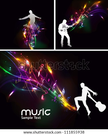set of abstract music dance background for music event design. - stock vector
