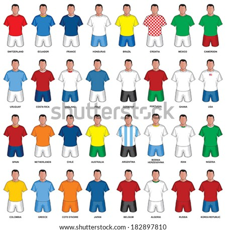 Set of abstract nationals football uniform - stock vector
