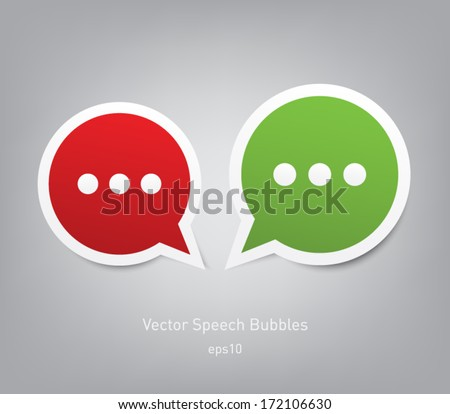 Set of abstract paper rounded speech bubbles - stock vector