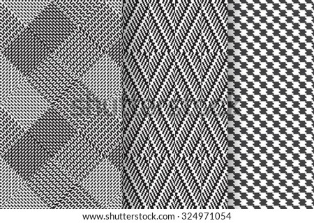 Set of 3 Abstract patterns. Black and white seamless vector backgrounds.