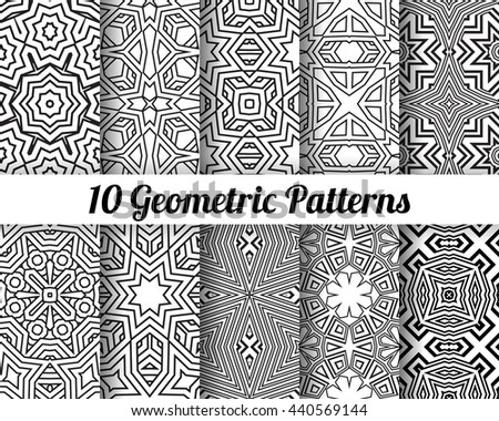 Set of 10 Abstract patterns. Black and white seamless vector backgrounds. - stock vector