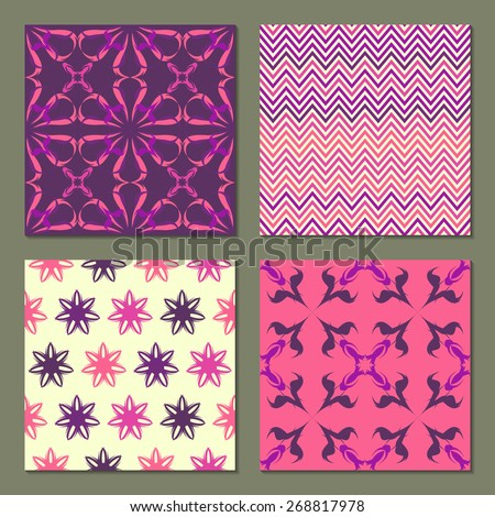 Set of 4 abstract  patterns. Colorful bright seamless wallpaper. Vector illustration. Fantasy background with geometric shapes and flowers.Classic chevron zigzag pattern. - stock vector
