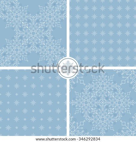 Set of abstract patterns of snowflakes on a blue background. Used for decoration and packaging.