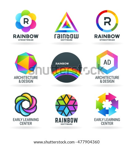 Set of abstract rainbow symbols and colorful logo design elements (4)