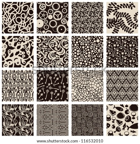 Set of abstract seamless patterns black and white - floral backgrounds