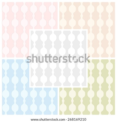 Set of abstract seamless patterns in pastel colors. Vector eps 10 - stock vector