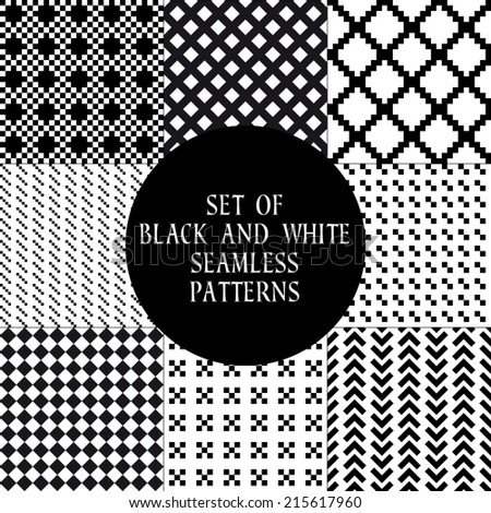 Set of abstract seamless patterns. 9 monochrome geometric ornaments, vector illustration - stock vector