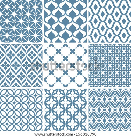set of abstract seamless patterns vector illustration - stock vector