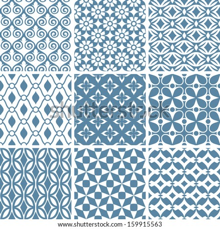 set of abstract seamless patterns vector illustration