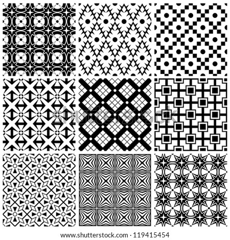 set of abstract seamless vector ornament patterns