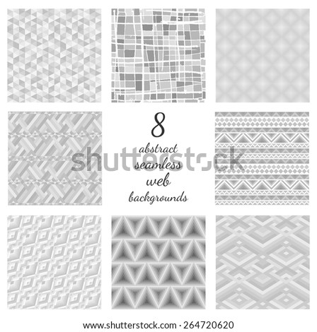 Set of abstract seamless web backgrounds. Collection of 8 tender grey repeatable motifs. Different monochrome mosaic and opt art ornaments. Upholstery textures. Vector file is EPS8. - stock vector
