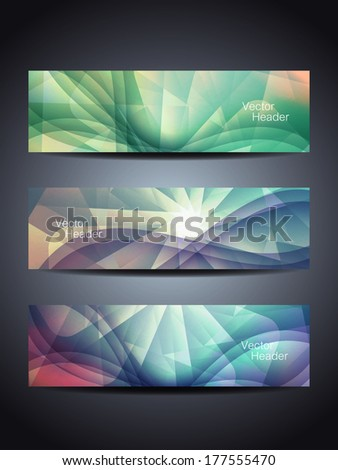set of abstract shining beautiful web header/banner designs. vector illustration