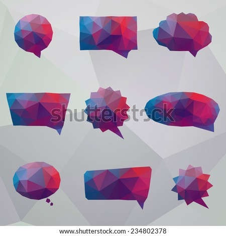 Set of abstract speech balloons or talk bubbles - stock vector