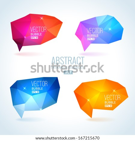 Set of abstract speech balloons or talk bubbles of crystal glass pattern. Good as label template for business advertising - stock vector