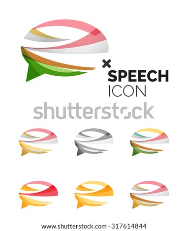 Set four company logos red gold stock vector 13220332 for Modern cleaning concept
