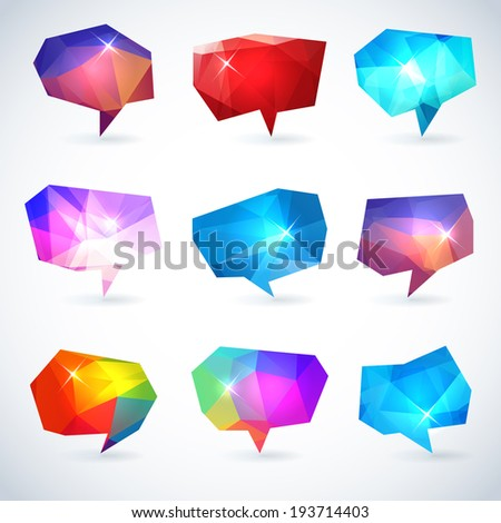 Set of abstract speech bubbles or talk balloons of polygon prism pattern. Good as advertising template design elements