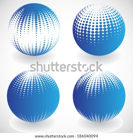 Set of abstract spheres with halftones