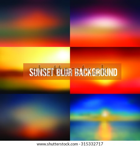 Set of Abstract Sunset Blurred Background,Blurred Background,Best starting point for backgrounds in webdesign, app design,print design or showing logos backgrounds