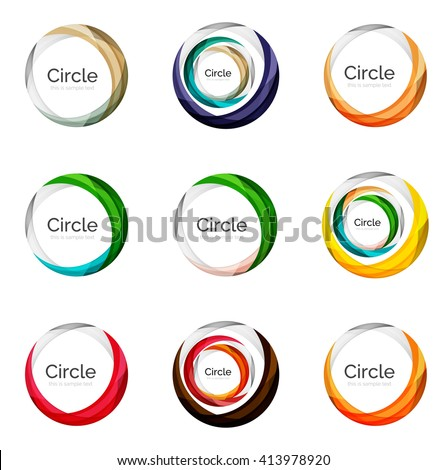 Set of abstract swirls and circles, logo vector collection - stock vector
