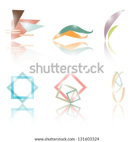 Set of abstract symbols  such a logo - stock vector