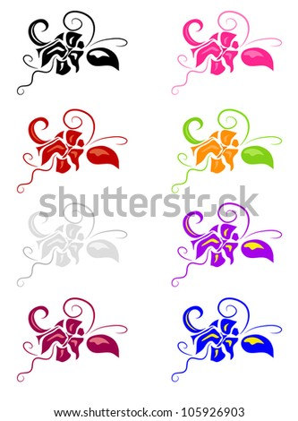 Set of abstract tattoo floral patterns. Colorful variants. Eps 10 vector illustration