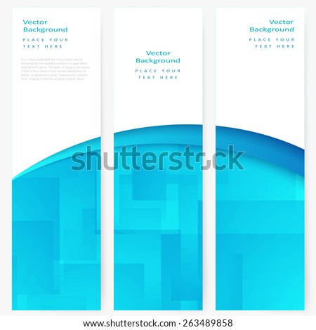 Set of abstract template vertical banner with white and turquoise transparent rectangles - stock vector