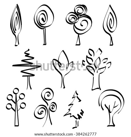 Set of abstract tree logos. Hand drawn sketch trees. Doodle abstract tribal tree emblems.