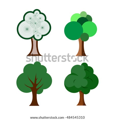 Set of abstract tree on a white background, Vector illustration