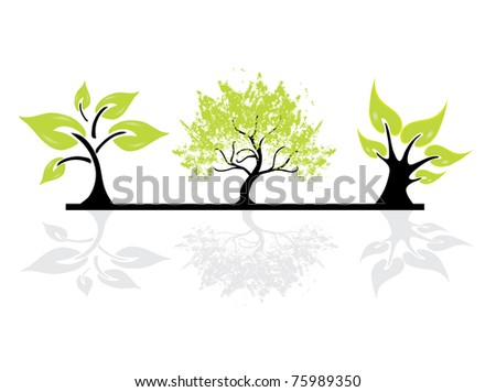 set of abstract tree silhouettes, symbols of nature - stock vector