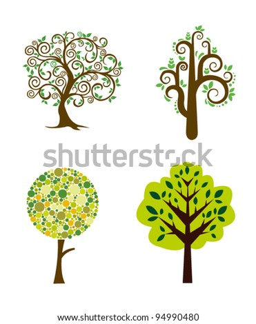 set of abstract trees - stock vector