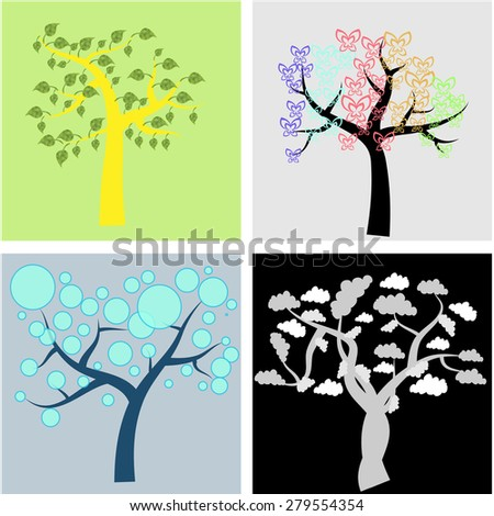 Set of abstract trees on colored backgrounds. Vector illustration
