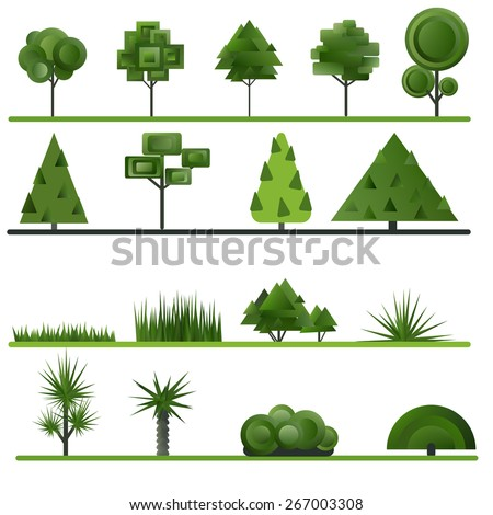 Set of abstract trees, shrubs, grass on a white background. Vector illustration. - stock vector