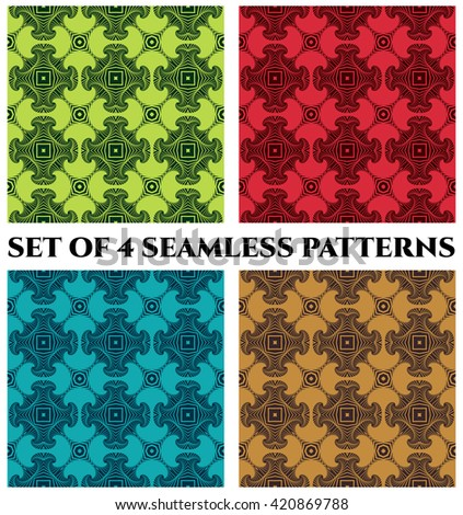 Set of 4 abstract trendy seamless patterns with fractal decorative elements of green, red, blue and brown shades - stock vector