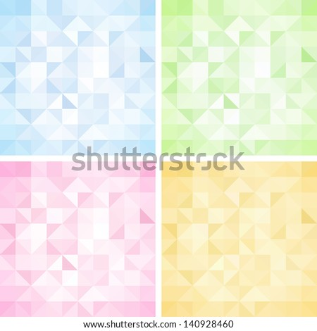 Set of Abstract Triangle Backgrounds, Vector Illustration