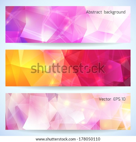 Set of Abstract Triangle Banners. Vector illustration, eps10, editable. - stock vector