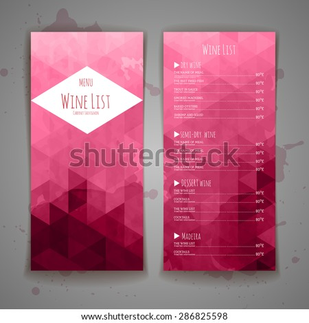 Set of Abstract triangle wine menu background - stock vector