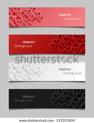 Set of abstract valentine banners. Vector illustration.  - stock vector
