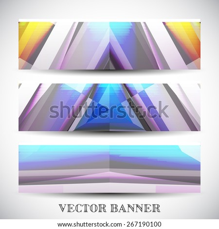 Set of abstract vector banners, colorful art Illustration