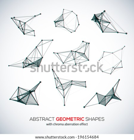 Set of abstract vector geometric shapes with chroma aberration effect - stock vector