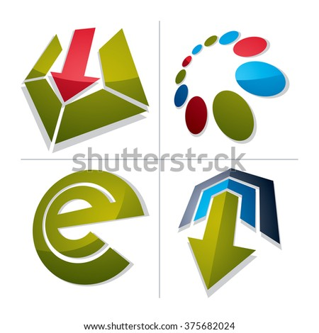 Set of abstract vector geometric symbols, 3d unusual e symbol, special arrows. Innovation and technology conceptual icons isolated on white background. E-mail, internet design elements. - stock vector